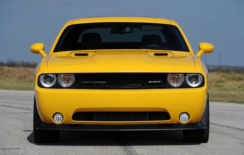 Photo wallpaper Dodge Challenger, Yellow, Muscle car, Hennessey, 2013, SRT8 392