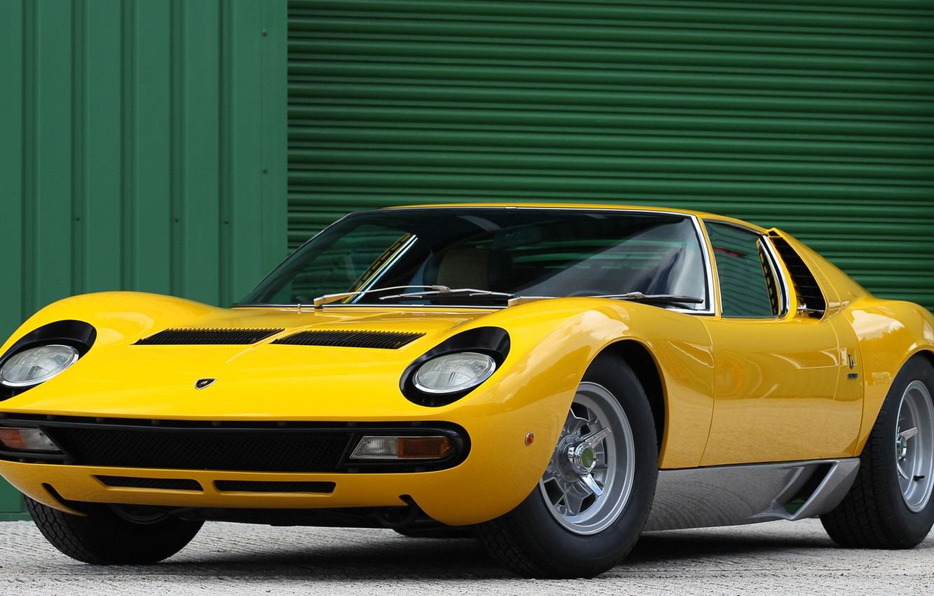 Wallpaper Color Auto Yellow Lamborghini Machine 1971 Lights