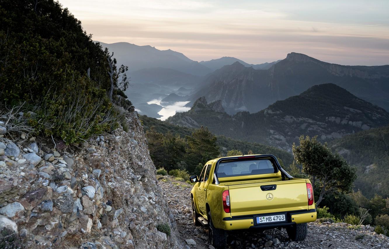 Photo wallpaper landscape, mountains, yellow, vegetation, Mercedes-Benz, pickup, feed, 2017, X-Class