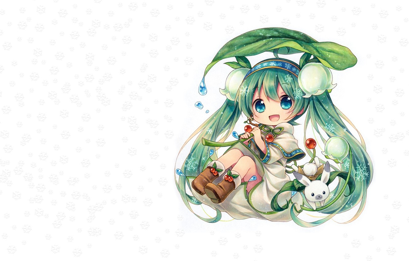 Photo wallpaper girl, flowers, snowflakes, spring, anime, art, Chibi, Bunny, Vocaloid, Lily of the valley, Miku, Spring ...