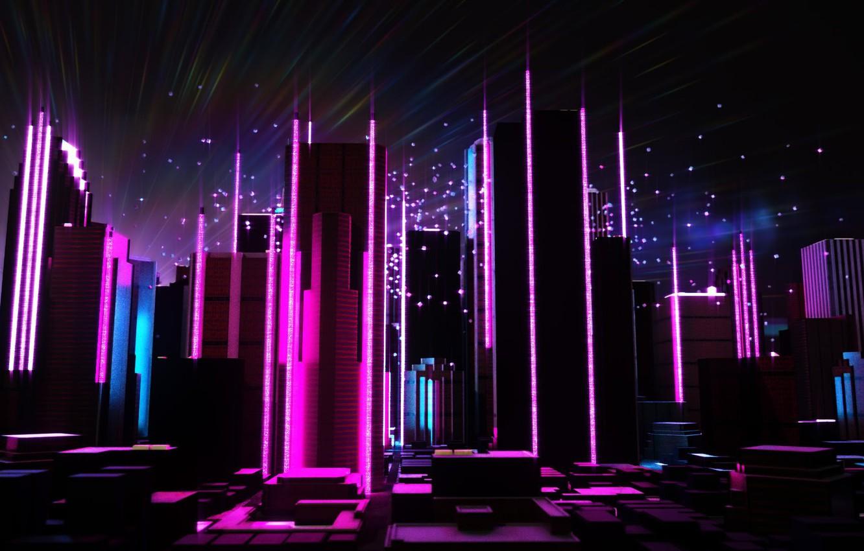 Wallpaper Music The City Future Neon Skyscrapers Electronic