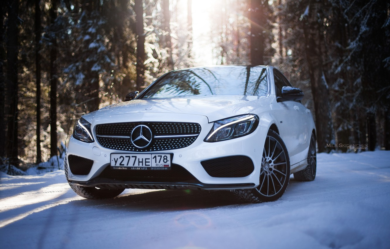 Photo wallpaper winter, car, machine, auto, city, fog, race, tale, car, red, mercedes, sports car, car, need …