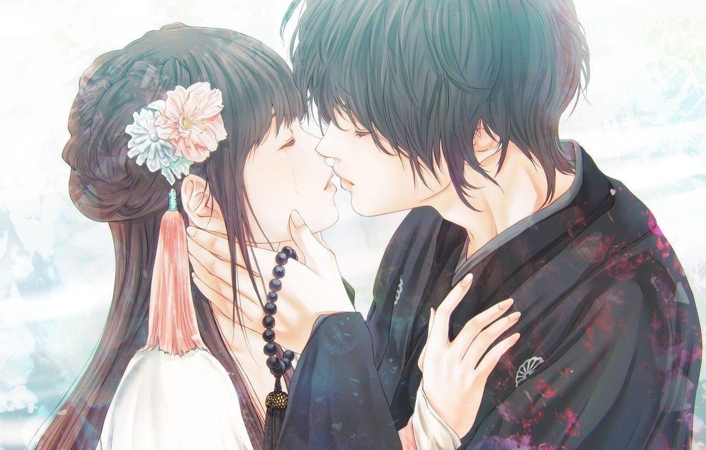 Photo wallpaper girl, romance, anime, pair, guy