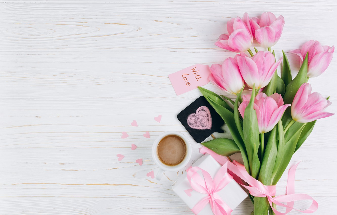 Photo wallpaper love, flowers, gift, Cup, hearts, tulips, love, pink, fresh, heart, wood, pink, flowers, beautiful, romantic, …