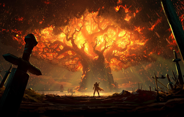 Photo wallpaper fire, battlefield, sword, World of Warcraft, fantasy, game, Warcraft, Teldrassil, trees, landscape, battle, weapons, elf, …