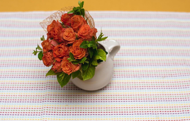 Photo wallpaper roses, bouquet, vase