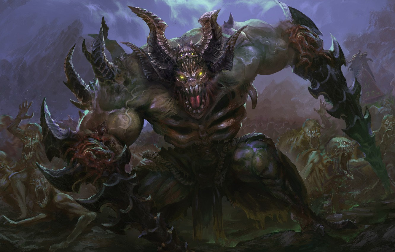 Photo wallpaper darkness, army, the demon, horns, art, dota 2, undying