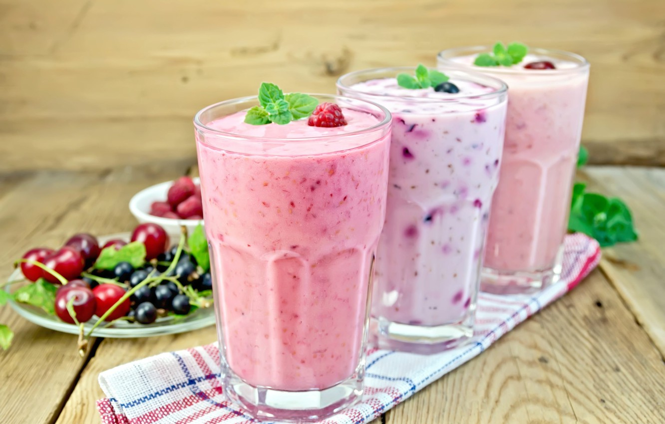 Photo wallpaper glass, berries, raspberry, Board, drink, mint, currants, cherry, napkin, smoothies