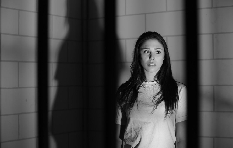 Photo wallpaper look, girl, black&white, fear, shadow, brunette, black and white, girl, brunette, fear, shadow, glance
