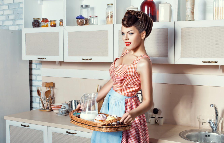 Photo wallpaper girl, food, Breakfast, kitchen