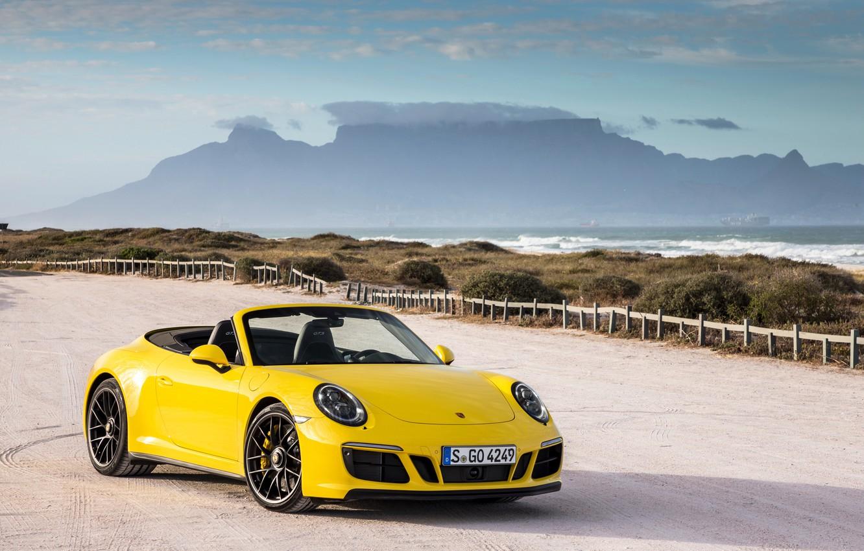 Photo wallpaper Yellow, 911, Porsche, Convertible, Carrera, Cars, GTS, Cabriolet, (991), 2017, Metallic, Worldwide