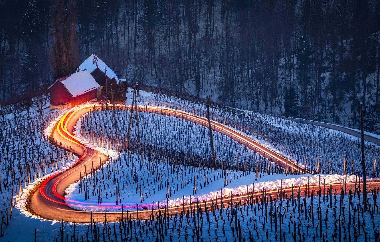 Photo wallpaper winter, road, light, snow, excerpt, houses