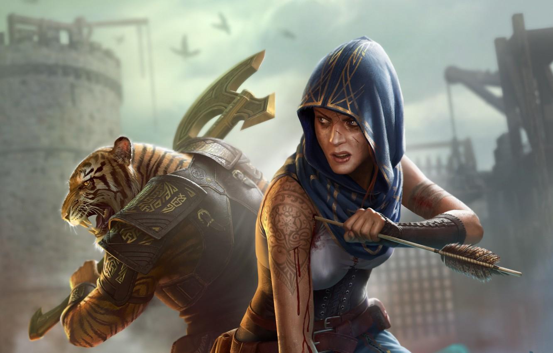 Photo wallpaper girl, tiger, fiction, warrior, art, hood, arrow, axe