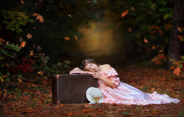 Photo wallpaper autumn, leaves, mood, stay, sleep, dress, girl, suitcase