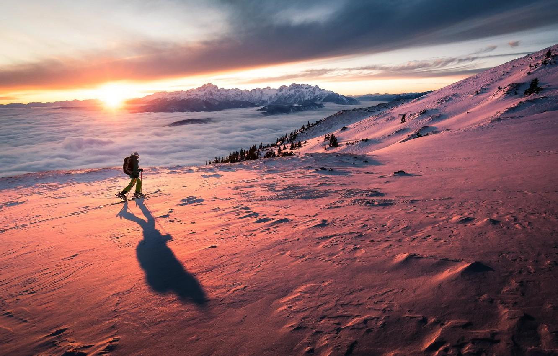 Photo wallpaper Sky, Landscape, Sunset, Snow, Freedom, Man, Feel