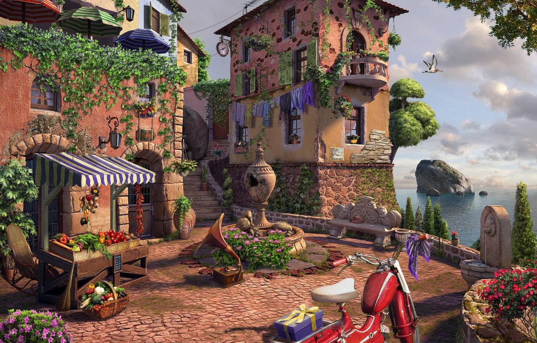 Photo wallpaper rendering, art, town, Square, patio, andrew krivulya