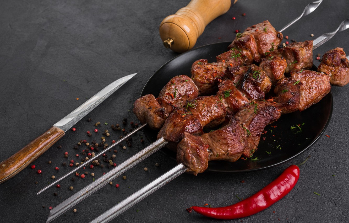 Photo wallpaper meat, pepper, kebab, spices