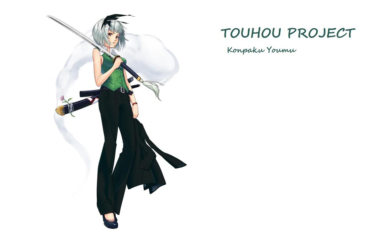 Photo wallpaper katana, white background, touhou, art, Myon, Konpaku Youmu, Touhou Project, Project East, pantsuit, Shimohigashi In …