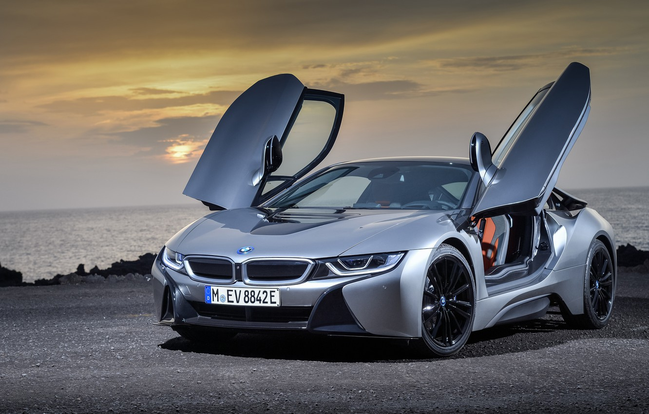 Photo wallpaper sunset, coupe, 2018, BMW i8