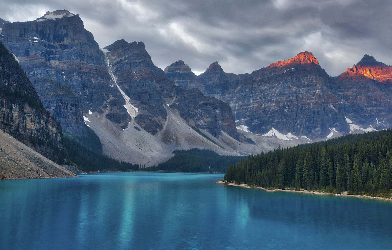 Photo wallpaper trees, mountains, river, spruce