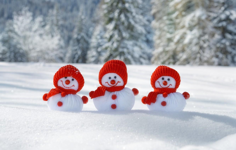 Photo wallpaper New Year, Christmas, snowmen, winter, snow, merry christmas, snowman