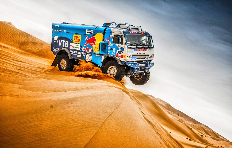 Photo wallpaper The sky, Sand, Nature, Sport, Speed, Truck, Race, Master, Beauty, Russia, Beast, 307, Kamaz, Rally, …