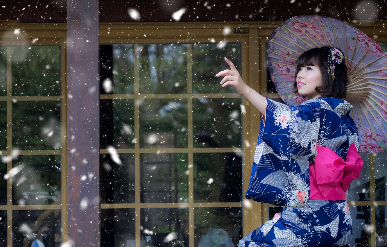 Photo wallpaper girl, snow, umbrella, mood, Japanese, kimono, Asian