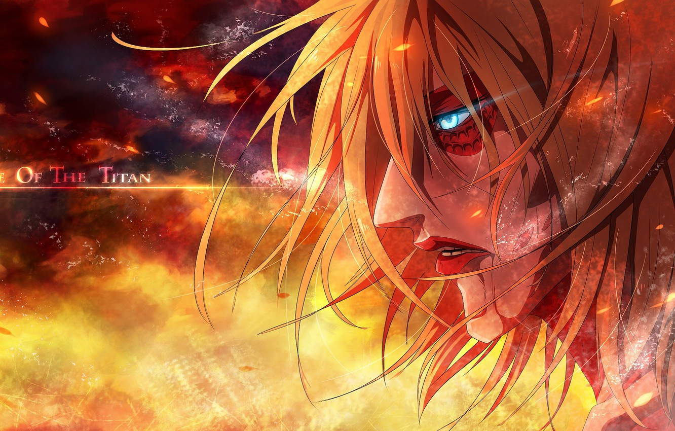 Wallpaper Fire Sparks Giant Burning Eyes The Invasion Of The Titans Annie Leonhardt Obsessed Shingeki No Kyojin Attack On Titan Images For Desktop Section Prochee Download