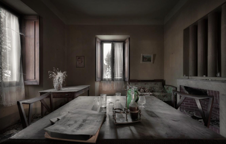 Photo wallpaper table, room, Windows