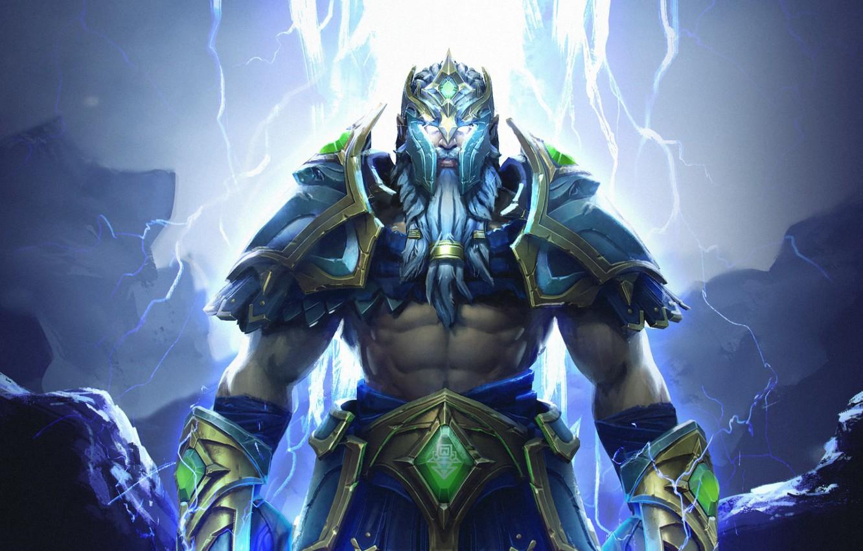 Photo wallpaper zipper, armor, lightning, art, Dota 2, Zeus, Zeus, the God of thunder, thunder god