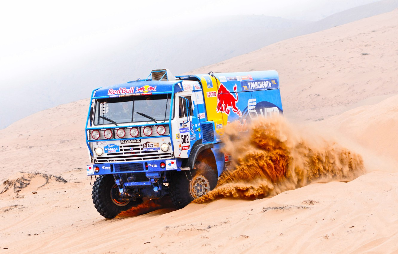 Photo wallpaper Sand, Blue, Sport, Race, Master, Russia, Dakar, Rally, KAMAZ, Master, Duck