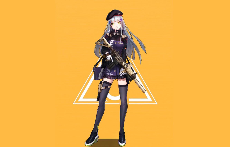 Photo wallpaper girl, weapons, anime, art, yellow background, Girls Frontline, Girls front