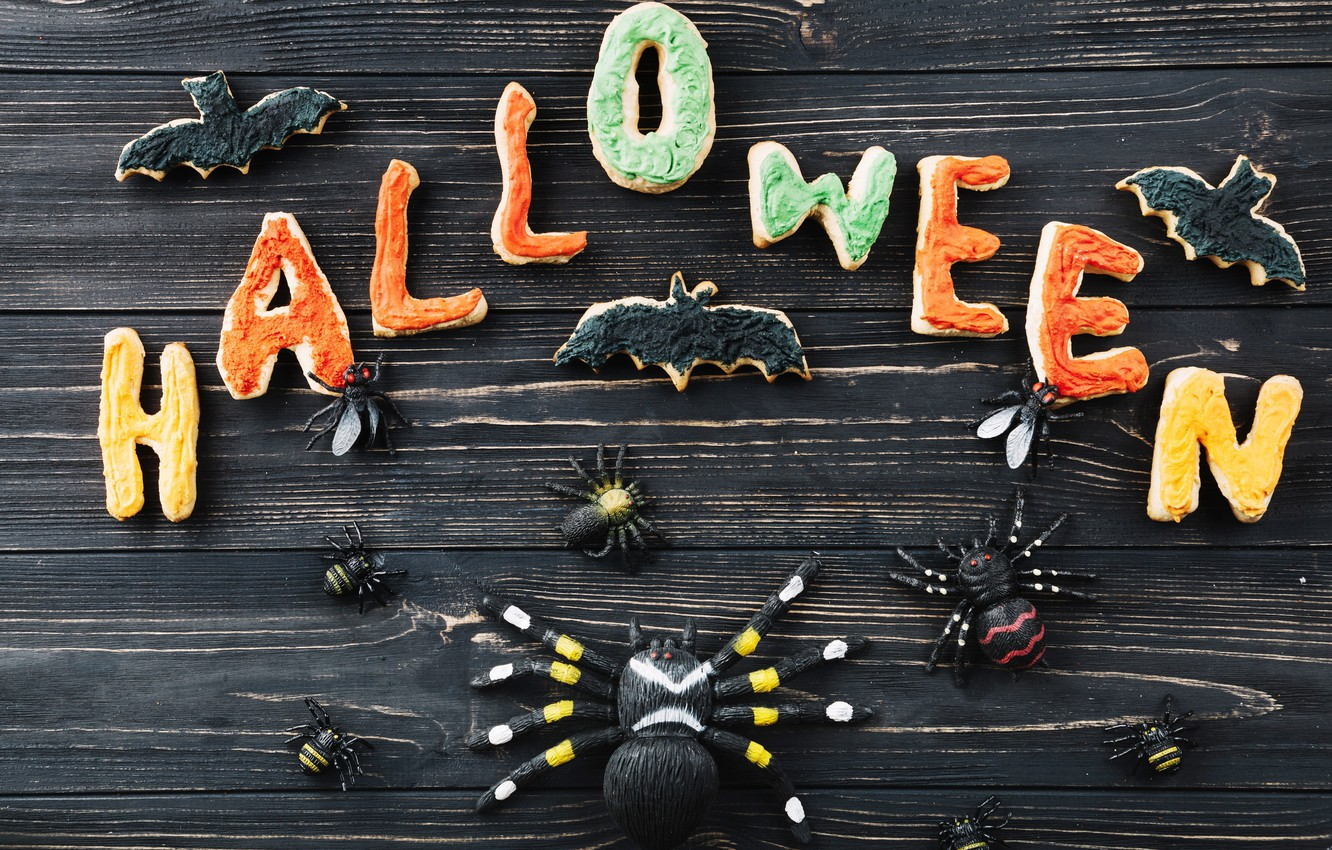 Photo wallpaper letters, holiday, spider, Halloween, cookies