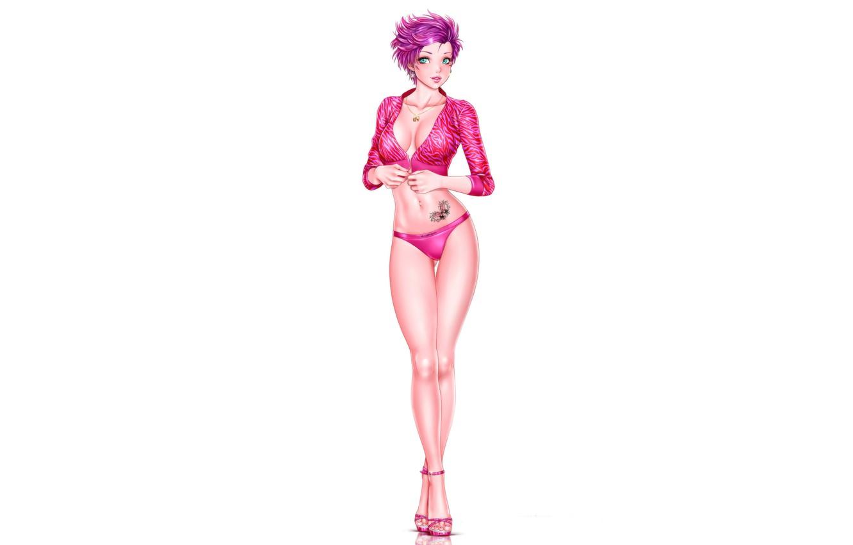 Photo wallpaper girl, white background, legs