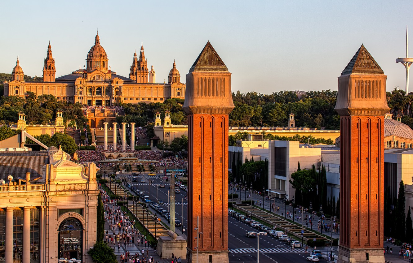 Photo wallpaper the city, people, panorama, tower, Spain, Palace, Barcelona