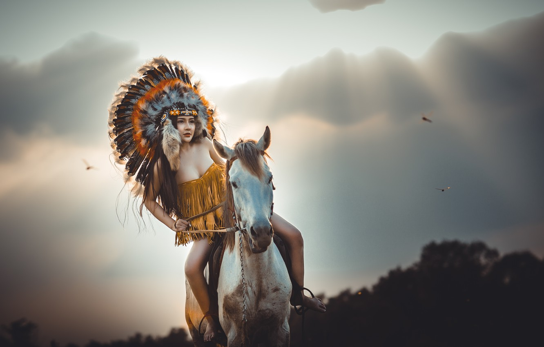 Photo wallpaper girl, face, horse, feathers, jump, headdress