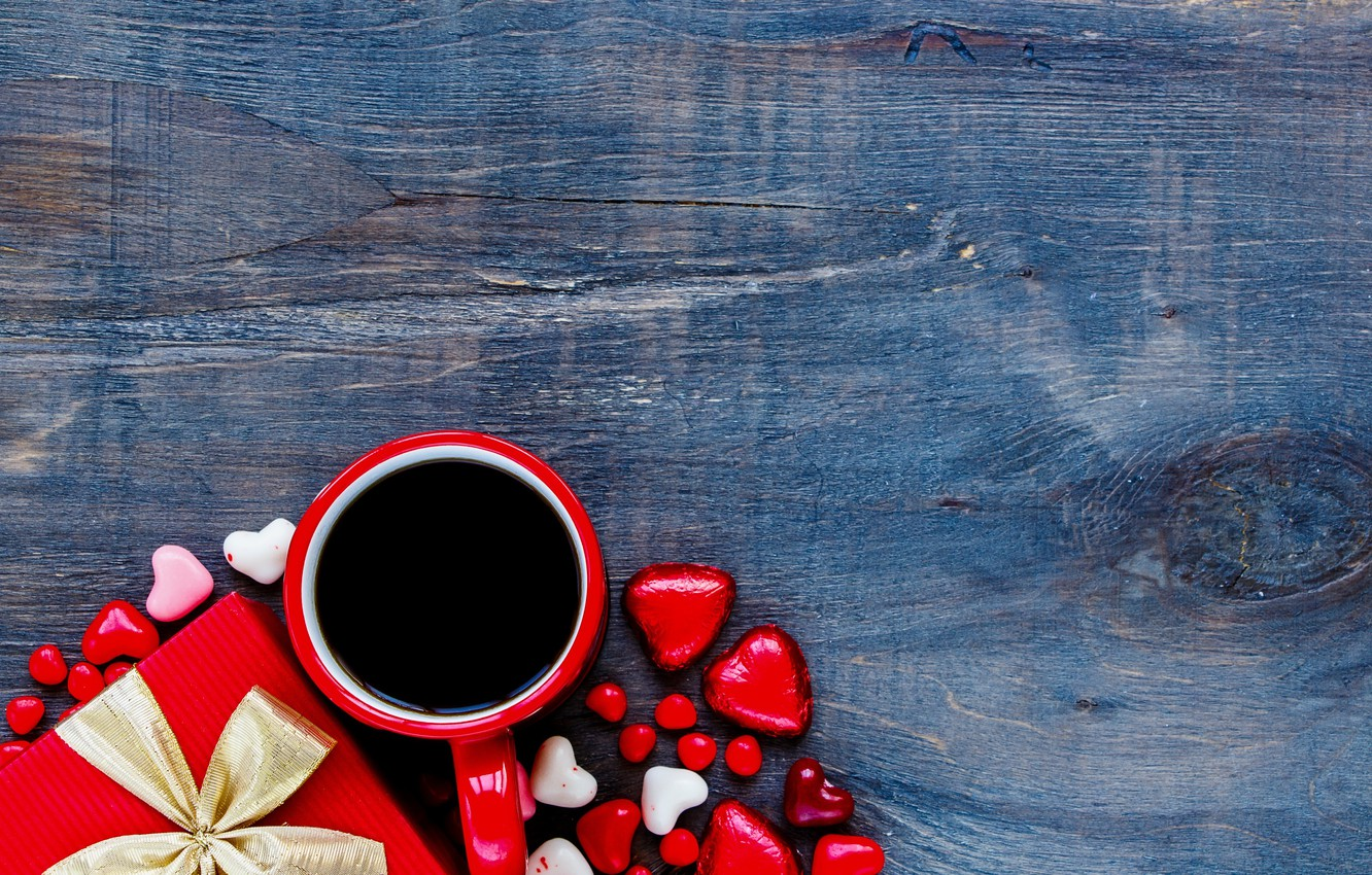 Photo wallpaper candy, love, heart, romantic, chocolate, gift, coffee, valentine`s day