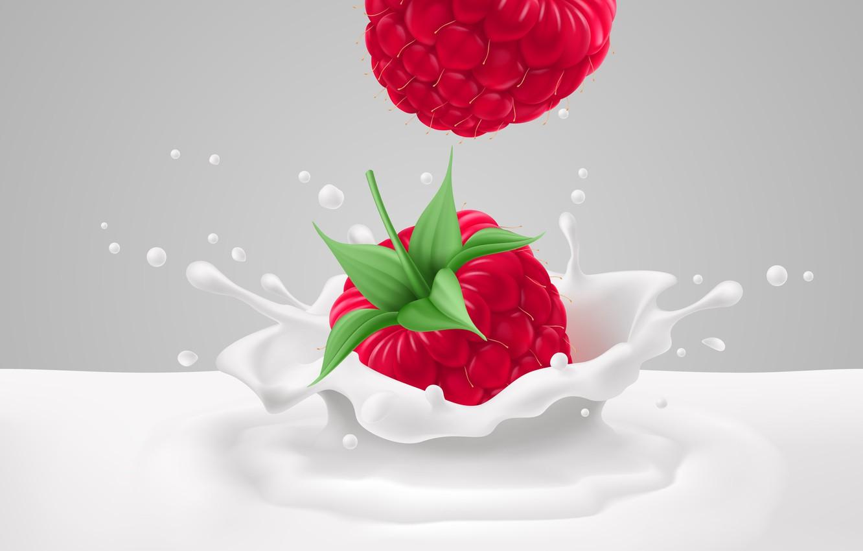 Photo wallpaper Milk, Squirt, Raspberry, Rendering