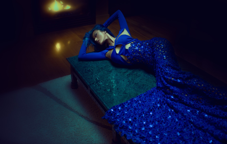Photo wallpaper girl, pose, lies, blue dress, Crystal Louey