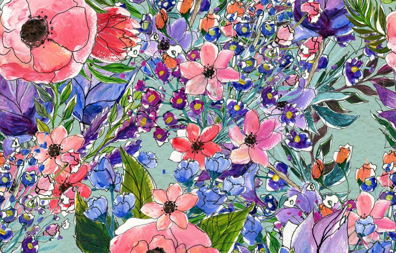 Photo wallpaper Flowers, pattern, pattern, seamless, Floral