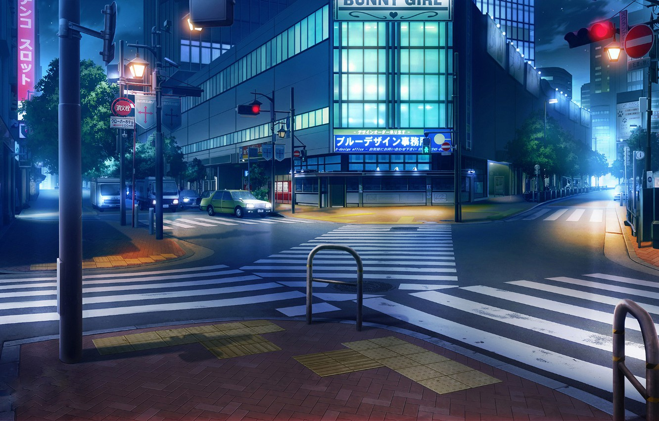 Photo wallpaper machine, night, lights, Japan, traffic light, crossroads, the transition, signs, deserted city, road signs