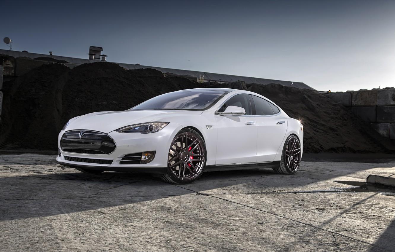Photo wallpaper white, wheels, Model, Tesla, niche