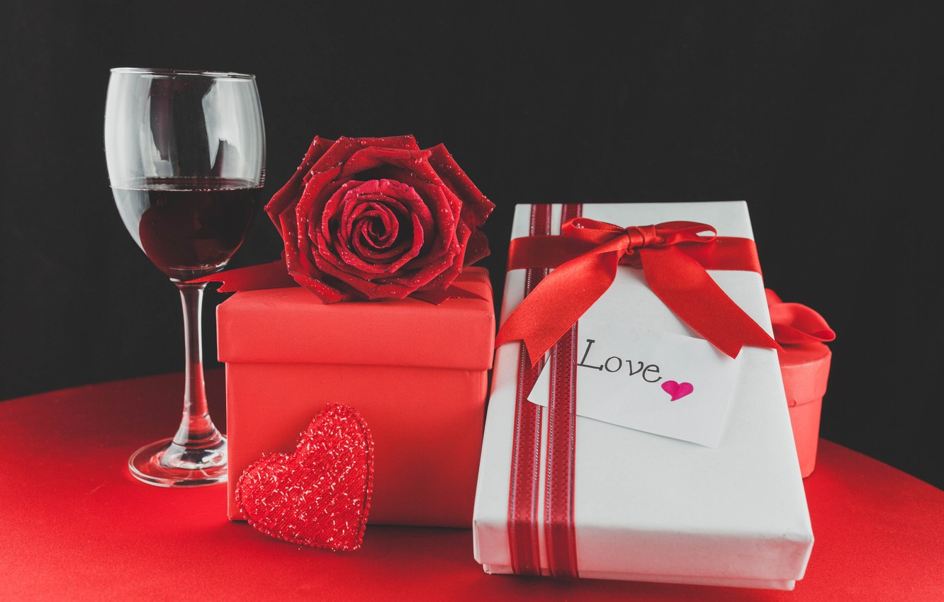 Photo wallpaper wine, glasses, red, love, romantic, hearts, valentine's day, gift, roses, red roses