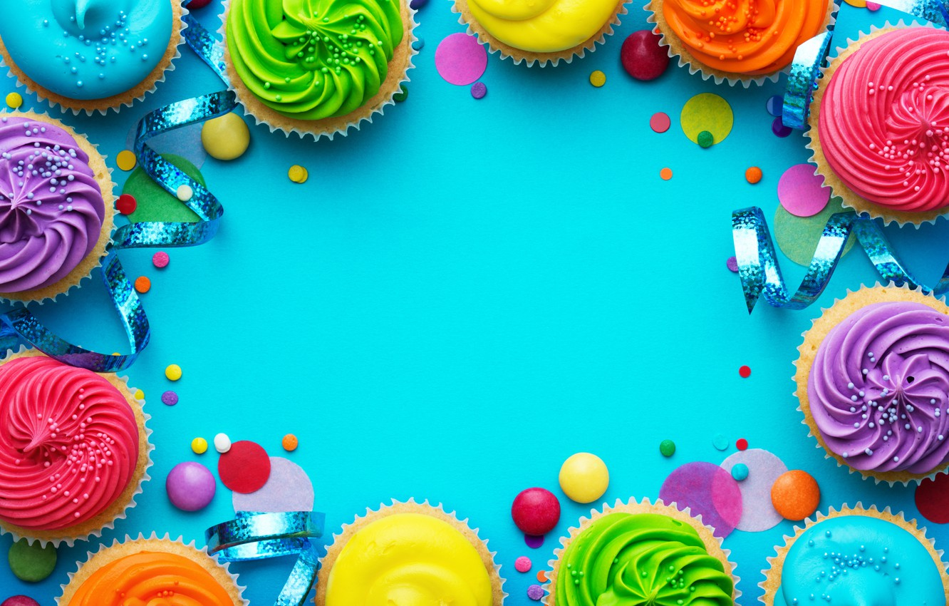 Wallpaper Candles Colorful Rainbow Cake Cream Happy Birthday Colours Cupcake Celebration Cupcakes Cream Decoration Candle Birthday Images For Desktop Section Prazdniki Download