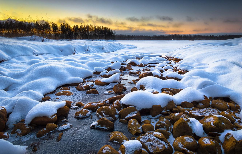 Photo wallpaper winter, snow, dawn, morning, Finland, Joensuu