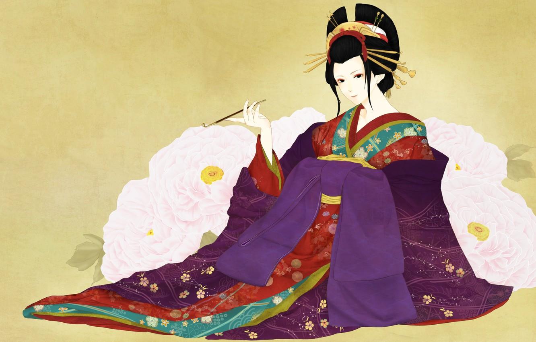 Photo wallpaper girl, flowers, art, geisha, kimono
