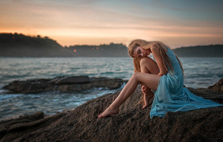 Photo wallpaper sea, look, pose, mood, model, dress, legs, Kseniya Kokoreva, Yuri Lyamin