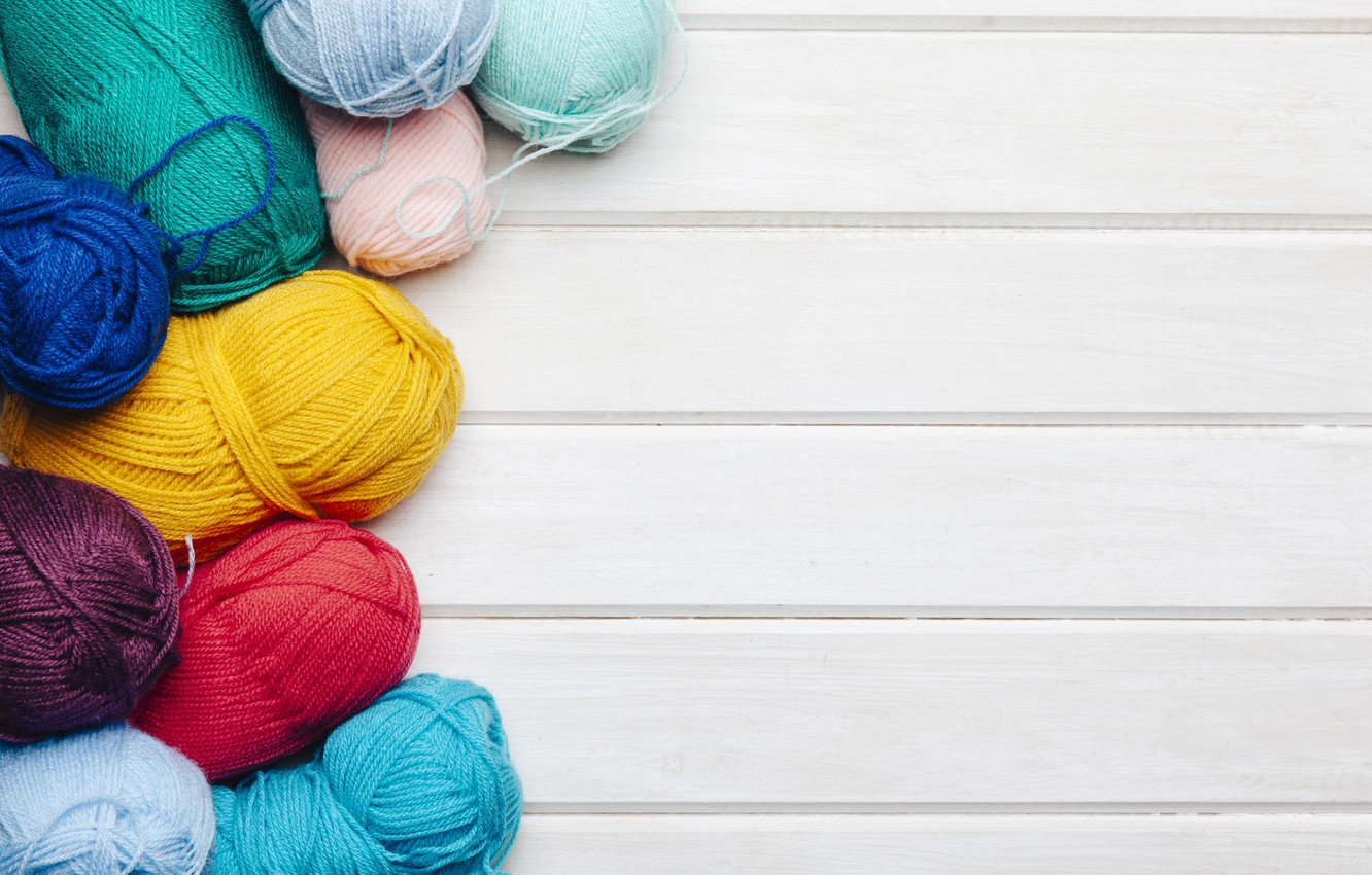 Photo wallpaper thread, colors, wooden background, yarn