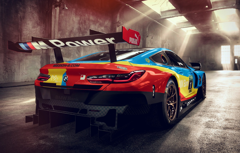 Photo wallpaper racing car, rear view, 2018, GTE, BMW M8