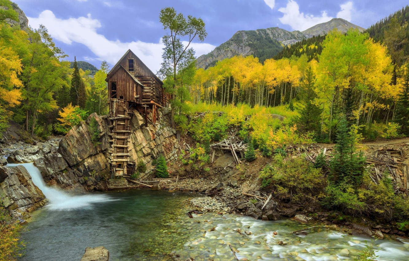 Photo wallpaper autumn, trees, river, stream, waterfall, Colorado, mill, Crystal Mill